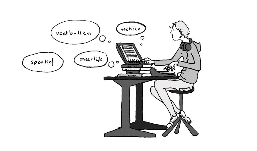illustratie van componerende jongere